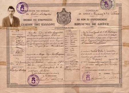 (01) Dimitrios Aronis-Beys: Departure from the Motherland - passport