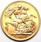 Reverse 1911 George V sovereign.