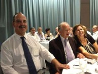 Mayor Theothori Koukoulis sitting with fellow Kytherians, Peter and Maria Vlandis