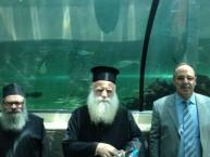 The Metropoliti of Kythera, father Petros and Mayor Koukoulis at Sydney Aquarium