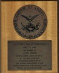 Plaque presented to Harry George Zantis