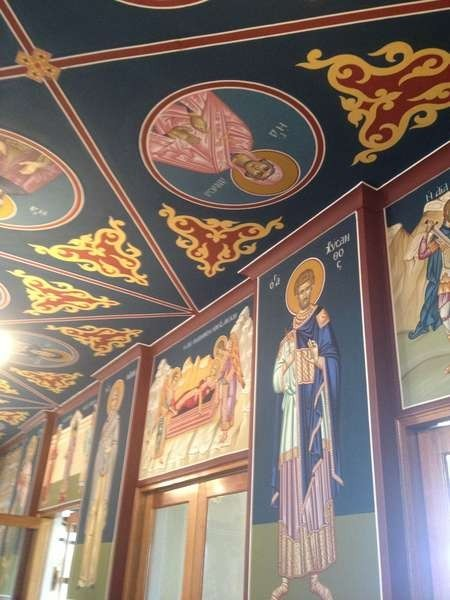Some of the beautifil iconography on the wall of St. Catherines Church, Mascot, Sydney