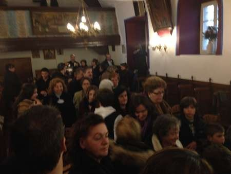 A packed house in the delightful church of the Stravromenos, Hora