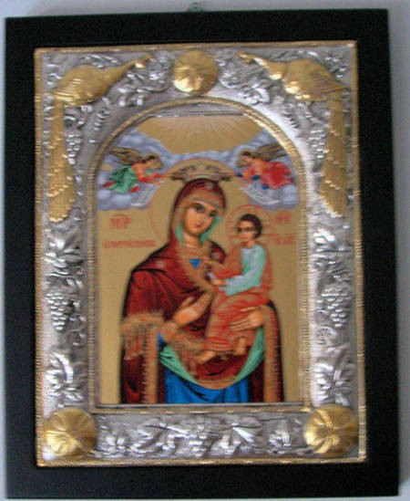 Icon in the entranceway of the Greek Orthodox Monastery of Panagia Gorgoepikoos. Australia. - Small Icon No Flash