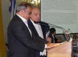 Award to Kytherian actor Vasilis Kailas from the Union of Ionian Islands - Vasilis Kailas receiving award