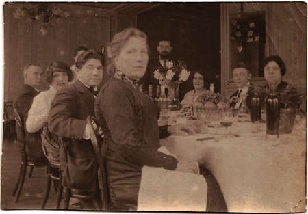 Emmanuel Andrew Cavacos - The bride (Pauline Pradelle) and groom (Emmanuel Cavacos) are seated second and third from left Oct 2 1915 Paris