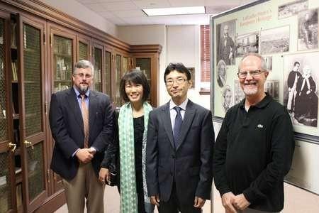 Michael Wood, Shoko Koizumi, Bon Koizumi & Dr. Bruce Raeburn in the Lafcadio Hearn room, Tulane University