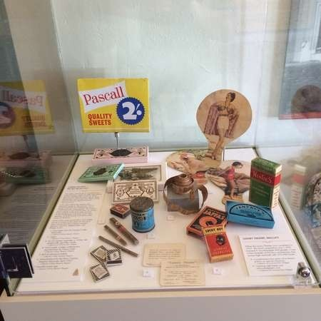 Display case with cafe era artefacts at the Greek Australian Roxy Museum