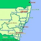 Bingara. MAP. In relationship to NSW and Queensland.