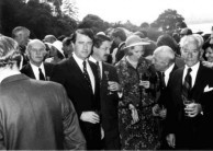 Official guests at the launch of Lourantos Village, May 1976.