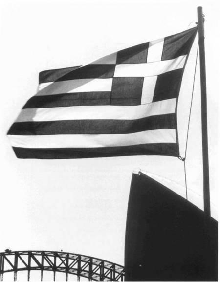 Greek Flag, Opera House & Harbour Bridge. Sydney. 1984.