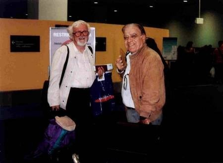 Professor Nikos Petrochilos and John Papadopoulos. One last book back to Australia - before boarding their plane, to return to Athens.