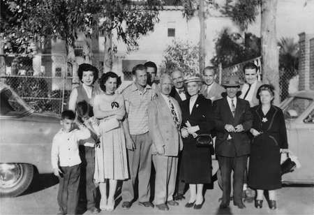 Chlentzos family in Los Angeles c. 1954-- who are the visitors from Australia?