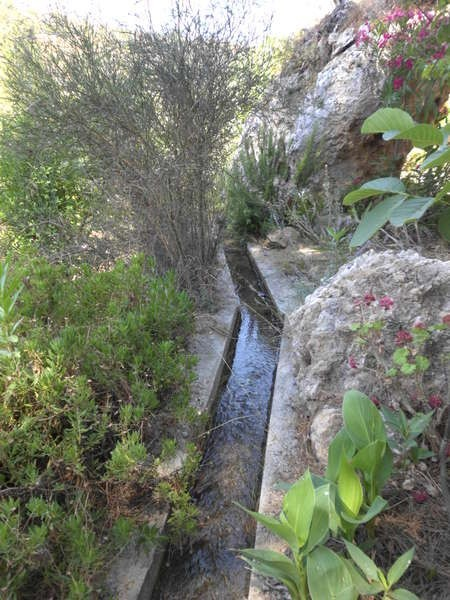 A water canal at Mylopotamos which fed the numerous water mills in the area