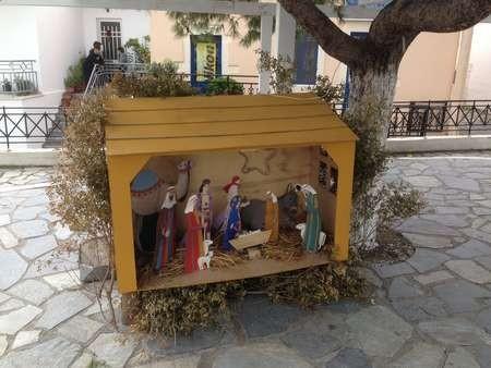 Nativity scene in the main platteia at Potamos