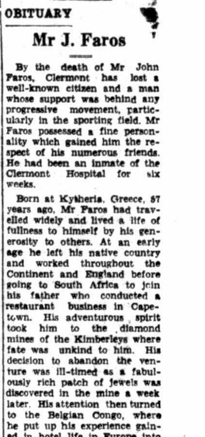 John Faros (1893-1950) Obituary - Central Queensland Herald, 20 July 1950