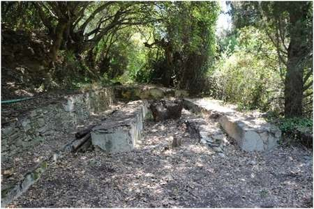 "Environmental Archaeology and History in Northern Kythera: - Gregory The ""picnic area"" at the Manganou spring, after being cleared in 2011"