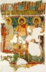 Saints Kerykos, Georgios and Notarios - part of a wall painting