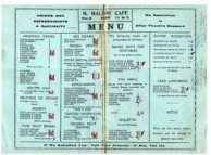 M. Mallos's Cafe. Menu.