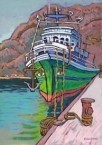 Diakofti. Ship in harbour. Painting.