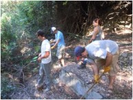 Students clearing undergrowth at the Manganou Spring, Karavas