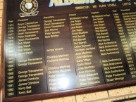 The Honour Board of the Albury City Soccer Club