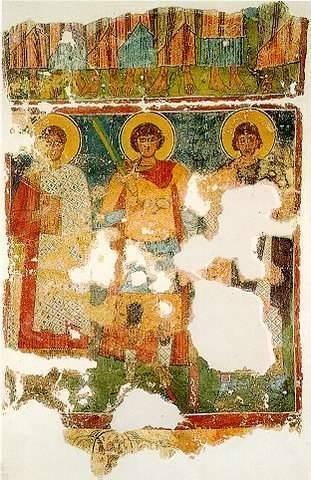 Saints Kerykos, Georgios and Notarios - part of a wall painting