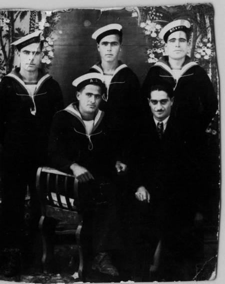 Aliferis bothers, Harry & Yanni, in a group Navy portrait, c.1936.