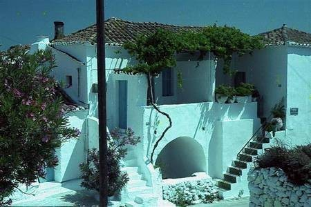 white washed houses.