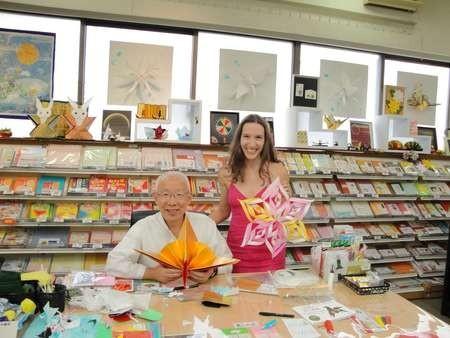 Myrto Dimitriou with Mr Kobayashi and her origami art work