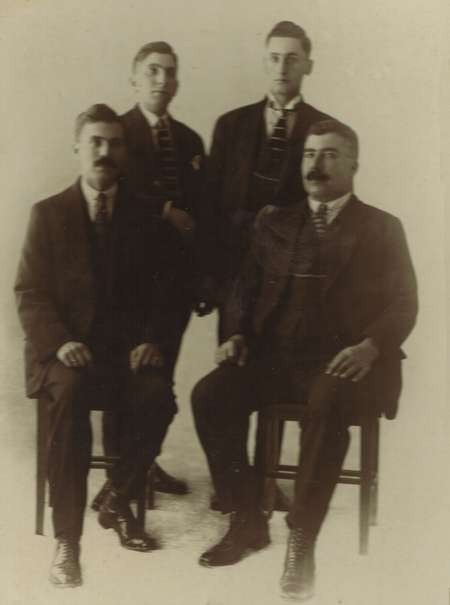 Theo Minas (Mick) and Theothoros (Theo) Tzortzopoulos (Poulos) and two other young men - currently unamed?