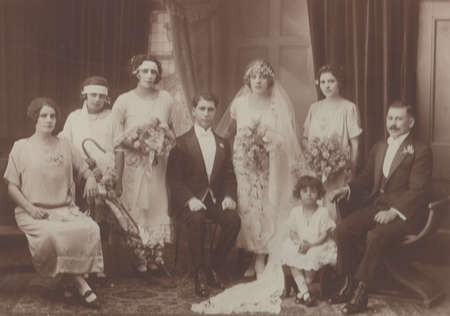 Immediate wedding party, the marriage of Bretos Margetis and Theodora Lianos, 1925