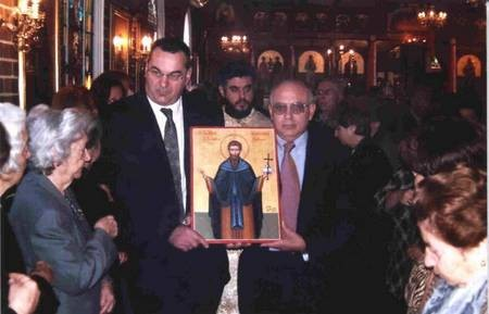 The icon of Ayios Theothoros, patron saint of Kythera, being carried around the church. 2005. - Ayios Haralambos being carried
