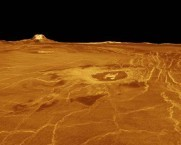 Venusian Landscape - Gula Mons and Crater Cunitz.