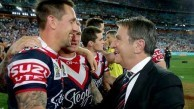 Nick Politis congratulates half back Mitchell Pearce after the 2013 Grand Final win