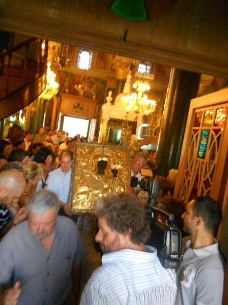 The icon of Myrtidotissa leaves the church to be paraded