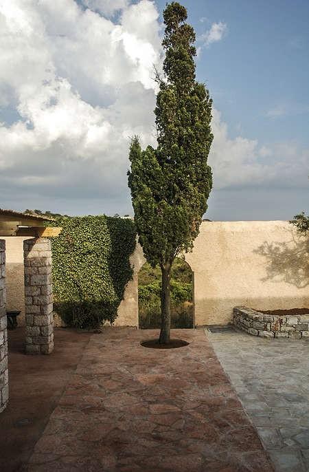 The newly landscaped courtyard of the Kythera Municipal Library, Kondolianika