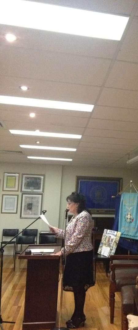 Popi Anastasiadis Mallianou, addressing the audience