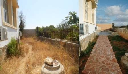 Comparison between 2009 - July 2013 state of the Kytherian Municipal Council Library courtyard