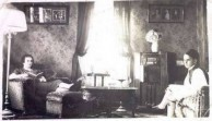 Irene and Minas Georgopoulos  in sitting room at home