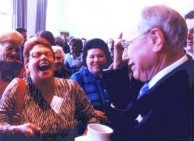 Ms Jenkins, laughing during an animated conversation with Prime Minister of Australia, John Howard.