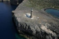 Lighthouse. Apolitares (Antikithira). Aerial view.