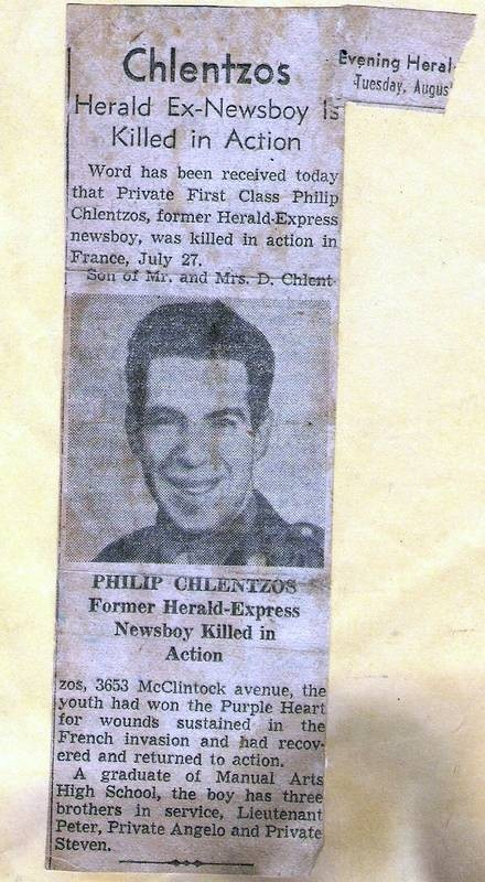 Newspaper article on death of Philip Chlentzos, 1944