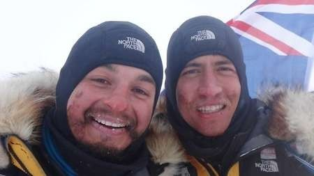 Adventurers James Castrission and Justin Jones at the finish line of the world's first unassisted 2200km trek to the South Pole and back