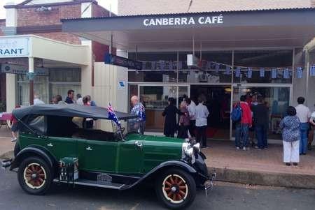 The vintage car, owned by George Paris