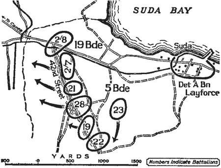 Map of the action on 27 May 1941 from the official Australian military history.