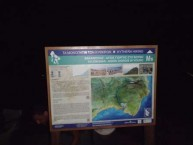 Erecting the primary monopatia (walking trail) sign in Avlemonas
