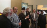 The Metropoliti of Kythera delivers a speech during the visit to Frutex, Sydney