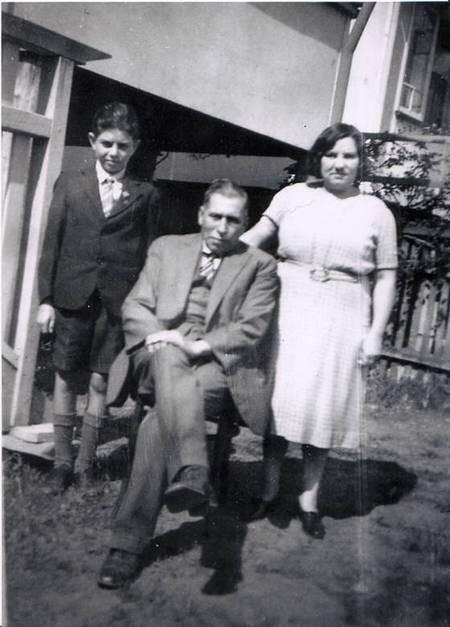 Manuel J Aroney with his parents in Mackay, circa 1949-50