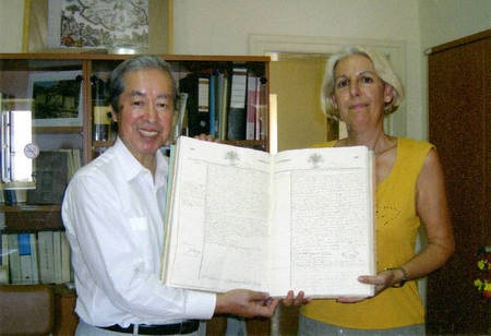 Sept 2008. (8) Toki Koizumi, the grandson of Lafcadio Hearn visits Kythera to pay homage to his grandparents. - Hearn006